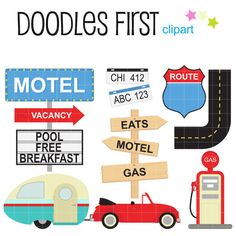 Road Trip Digital Clip Art for Scrapbooking Card by DoodlesFirst