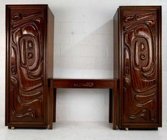 Rare Mid-Century Armoire and Desk by Witco | From a unique collection of antique and modern wardrobes and armoires at https://www.1stdibs.com/furniture/storage-case-pieces/wardrobes-armoires/