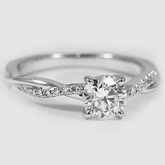 Platinum Petite Twisted Vine Diamond Ring // Set with a 0.57 Carat, Round, Super Ideal Cut, F Color, VS2 Clarity Diamond #BrilliantEarth