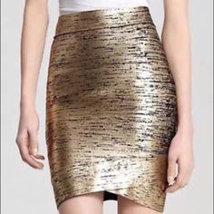 BCBG Max Azria Skirt Black and gold bandage skirt. New with tags. No trades.  Make me an offer. BCBGMaxAzria Skirts Pencil