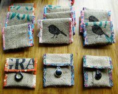 Birdie Wallets - recycled burlap coffee sacks and cotton. Burlap Coffee Bags, Hessian Bags, Burlap Sacks, Jute Bags, Burlap Projects, Burlap Crafts, Fabric Crafts, Burlap Purse, Burlap Fabric