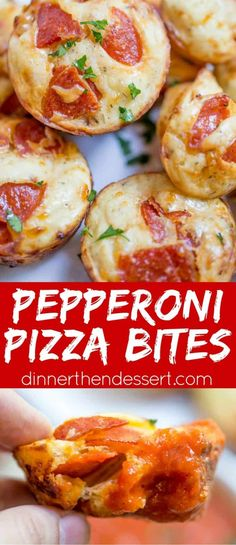 Kids will love this dinner idea! Pepperoni Pizza Bites are a cross between a bagel bite and a pizza muffin. Pepperoni Bites, Pepperoni Recipes, Pizza Recipes, Appetizer Recipes, Cooking Recipes, Easy Cooking, Healthy Cooking, Pepperoni Bread, Pizza Appetizers