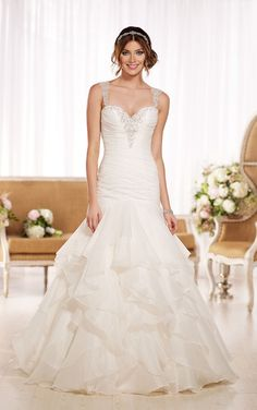 Explore royal Organza fit-and-flare wedding dresses featuring sparkling Diamante embellishments on a ruched bodice, elegant shoulder straps and sexy keyhole back.