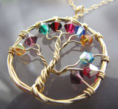 Personalized Family Tree of Life Pendant- 14k Gold Filled and Swarovski Crystal Birthstone Necklace~ branches by megan darienzo on Etsy