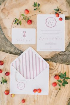Berry inspired wedding invitations: http://www.stylemepretty.com/little-black-book-blog/2014/12/22/boho-chic-winter-wedding-inspiration/ | Photography: Anna Roussos - http://www.annaroussos.com/