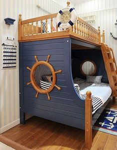 A maritime motif bed room is excellent for youngsters that love anything to do with the sea, pirates, sailing, seashores or just intend to have a unique layout for their space. Kids Bedroom Furniture, Wood Bedroom, Bedroom Decor, Baby Boy Room Decor, Baby Boy Rooms, Pirate Bedroom, Kids Bedroom Designs, Blue Wood, Wood Colors