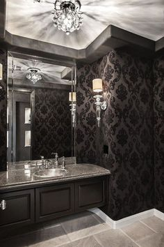 SJC Dramatic Remodel - contemporary - Powder Room - Orange County - Orange Coast Interior Design Source by wacey_foster Gothic Interior, Gothic Home Decor, Gothic Bathroom Decor, Victorian Gothic Decor, Victorian Style Bathroom, Luxury Interior, Black Powder Room, Powder Rooms, Decoration Baroque