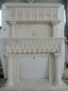 LARGE CARVED GOTHIC TRAVERTINE ESTATE FIREPLACE MANTEL - FUM21 Marble Fireplace Mantel, Marble Fireplaces, Fireplace Surrounds, Fireplace Mantels, Glazed Tiles, Travertine, Beautiful Hands, Hand Carved, Entryway Tables