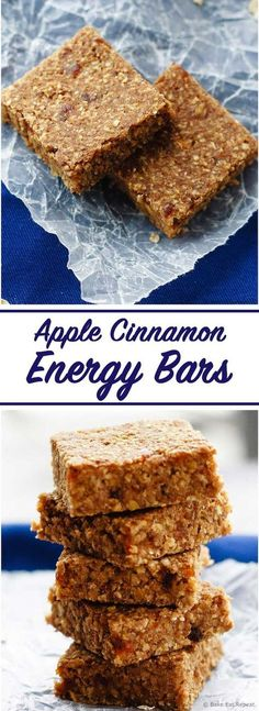 Healthy Snacks For Kids Apple Cinnamon Energy Bars - Easy apple cinnamon energy bars that mix up quickly and are a hit with the kids - plus you can be happy they get a healthy snack that will keep them going! Healthy School Snacks, Healthy Protein Snacks, Healthy Bars, Healthy Treats, Healthy Baking, Happy Healthy, Protein Bars, Granola Barre, Energy Snacks