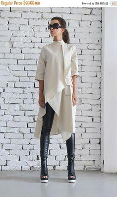 SALE Beige Asymmetric Shirt/Extravagant Oversize Tunic/Half