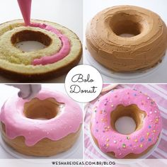 Food Cakes, Cupcake Cakes, Donut Cakes, Cake Recipes, Dessert Recipes, Donut Recipes, Donut Birthday Parties, Donut Birthday Cakes, Girl Birthday Cakes Easy