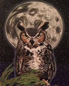 Great Horned Owl & Moon - Artwork by Tiffany Mootrey. Owl Artwork, Owl Moon, Moon Pictures, Great Horned Owl, Owl Patterns, Archaeology, Watercolor Paintings, Digital Art, Canvas Art