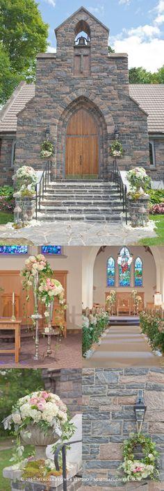 Church decor - love the pew flowers