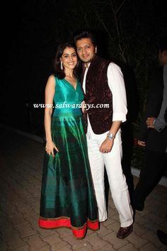 Indian Salwars and Indian Fashion: genelia in manish malhotra designer sleeveless gre...