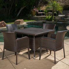 Home Loft Concepts Laguna 5 Piece Wicker Dining Set (Set of 5)