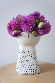 Original Miss Fizz Vase - handmade, handpainted ceramic stoneware by Vanessa Holle (vanessabeanshop) from etsy.com.