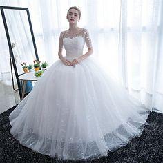 De Baile Vestido de Noiva Longo Decote em U Cetim / Tule com Renda - BRL R$ 270,37