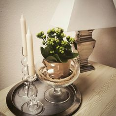 Sidetable decoration ,candles,flowers vintagehome