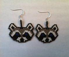 Beaded Raccoon Earrings