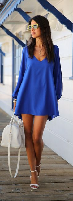 Royal Blue Bohemian Design dress for your Sunday out.Discover more colors at CUPSHE.com with amazing prices!