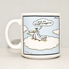 far side cloud 9  | Far Side Comic Mug Cup Angel on Cloud I Wish I'd Brought a Magazine ...