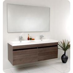 Home Depot - $1300 for double vanity, sink, faucets AND mirror!!   Fresca - Largo Gray Oak Modern Bathroom Vanity With Wavy Double Sinks - FVN8040GO - Home Depot Canada