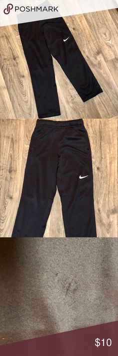 Boys Nike Therma Fit Slim Pants Preowned with some wear. The last two pics have been blown up and lightened in color in order to see the imperfections. Super soft material, slim fit. Size XS Nike Bottoms Sweatpants & Joggers