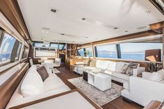 #Yachting #Interiors #Design: experience the style and elegance of the #MadeInItaly penned by the #FerrettiGroup designers. Interiors Ferretti Yachts 800 main deck.