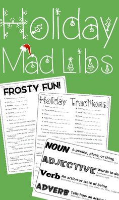 """Oh the weather outside is __________ (Adjective), but don't let that keep you and your students from having a blast while learning! Here is a great way for students to gain practice with the parts of speech while having a blast.- """"Holiday Traditions!"""" Mad Lib including 14 opportunities for student practice. - """"Frosty Fun!"""" Mad Lib including 13 opportunities for student practice. - Parts of Speech Cheat Sheet to help guide students. These mad libs are non holiday specific so all kiddos can…"""