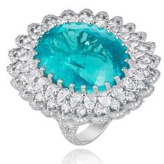 Pure #ParaibaPorn in the form of this 41.57 carat Paraiba Tourmaline and diamond ring from