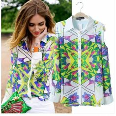 Full Sleeve Geometric printed Chiffon Lapels Blouses ($32.97 ,original price is $112.00)  http://www.breakicetrends.com/tops-60.html/blouses-85.html/stylish-chic-full-sleeve-geometric-printed-chiffon-lapels-blouse-blouses.html