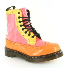 Dr Martens Harrie Womens Patent Leather Wingtip Brogue Boots in Acid Orange, Pink & Yellow at Scorpio Shoes