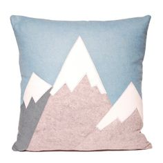 "21"" Ski Mountains Large Decorative Wool Throw Pillow, Winter Home Decor, Cabin, Winter, ski lodge, snow capped mountain, The Salty Cottage"