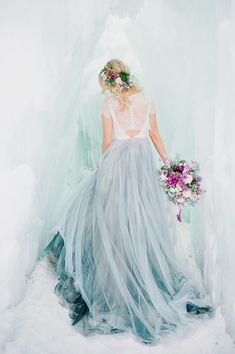 Ice Ice Baby Inspiration Shoot. Photography by Lori Romney, Florals by Whitney Johnson, Gown by Chantel Lauren, Midway Ice Castles #winterwedding #winterbridalphotography #utahwedding #utahweddingphotography #utahvalleybride #midwayicecastles