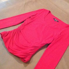RED long sleeve side ruched shirt Red side ruched top. It is RED even though it looks pink in photo. Size small - very form fitting Karen Kane Tops
