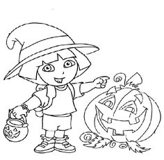 Dora The Explorer Halloween Coloring Pages