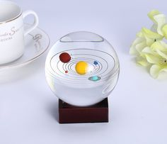Crystal Solar System Crystal Ball with Stand by Consio Cool Gifts, Unique Gifts, Best Gifts, Solar System Model, Science Gifts, Ball Decorations, Glass Ball, Home Office Decor, Crystal Ball