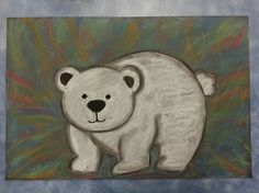Polar Bear Chalk Pastel Art Project for kids with Northern Lights in the background