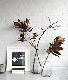 Modern home decor styling details - Tabletop with dried magnolia branches in glass vases, stacks of books, and a framed black and white photo.
