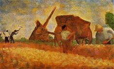 The Stone Breakers, 1883 by Georges Seurat. Post-Impressionism. genre painting. Private Collection
