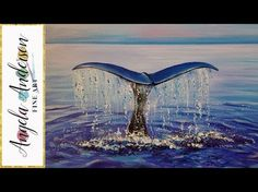 Easy Beginner Acrylic Painting Whale Tail Ocean LIVE Step by Step Tutorial - YouTube
