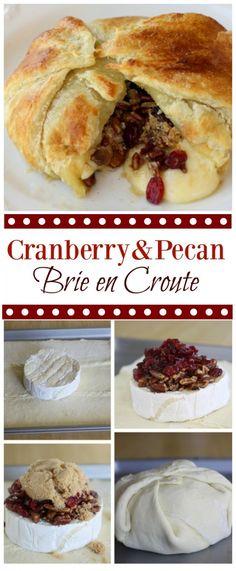 Cranberry and Pecan Brie En Croute - a festive appetizer that will be devoured in minutes. the-girl-who-ate-everything.com Brie Appetizer, Appetizers For Party, Appetizer Recipes, Bre Cheese Recipes, Burger Recipes, Yummy Appetizers, Brie En Croute, Tapas, Puff Pastry Dough
