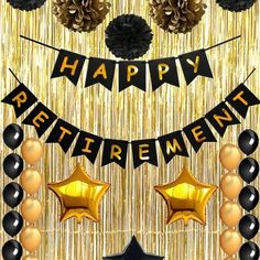 Happy Retirement Party Decorations, Vagski Black and Gold Happy Retirement Banner with Latex Balloons, Pom Poms Flowers and Gold Foil Curtain, Perfect Party Supplies for Retirement Decorations Happy Retirement Banner, Military Retirement Parties, Retirement Decorations, Retirement Celebration, Retirement Party Decorations, Retirement Cakes, Balloon Decorations Party, Graduation Decorations, Retirement Ideas