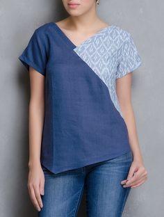 Buy Indigo Blue V Neck Ikat Linen Top Women Tops Online at Jaypore.com