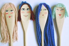Wooden Spoon Doll Set of 4 by LittleFoxLittleRabit on Etsy, $30.00