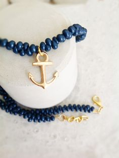 Navy beaded necklace with anchor by MASTICA on Etsy, $12.00