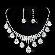 Oval Drop Crystal Rhinestone Pendant Necklace Earring Wedding Set – UCHARMME.co.nz