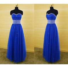 DressPerfect Royal Blue Sweetheart Empire a-Line Beaded Long Prom... ($139) ❤ liked on Polyvore featuring dresses, gowns, grey, women's clothing, long evening gowns, long evening dresses, short prom dresses, royal blue dress and prom gowns