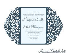 Ornamentales de 5 x 7'' doble puerta plantilla de tarjeta de invitación boda, quinceañera, laser corte, Vector corte archivo SVG, Silhouette Cameo, Cricut