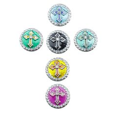 Soleebee 6pcs Enamel Alloy Snap Buttons Jewelry Charms - Cross -- Check this awesome item by going to the link at the image.